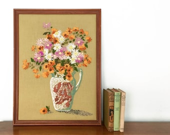 Vintage Floral Crewel Wall Hanging Framed Handmade Embroidery Art Crewel Flowers in Vase Large Wall Art in Wooden Frame Boho Home Decor