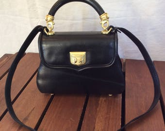 1991 Barry Kieselstein Cord Black Leather Rare Hard to Find Satchel Shoulder Bag Made in Italy