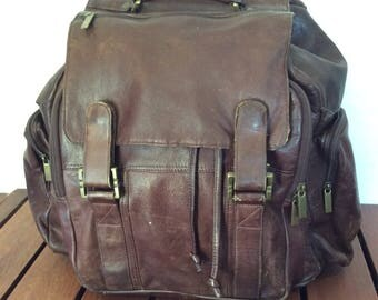 Large Vintage Genuine Backpack Brown Leather Rucksack Backpack Multiple Pockets