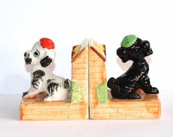 Dog bookends. Pottery dog bookends. Kitch dog bookend. Puppy bookends. Bookends