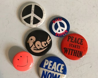 Peace buttons peace badges smiley face