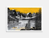 Northern Exposure Art Print / wall art / lake / mountains / wilderness / black and white / yellow / illustrated / canoe / moose / explore