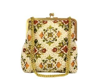 Vintage White Beaded Tapestry Purse // Mid-century Floral Needlepoint Handbag, Adjustable Strap, Convertible Clutch Shoulder Bag