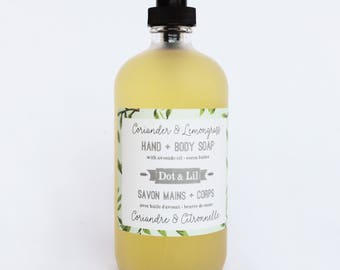 large liquid hand & body soaps with cocoa butter and avocado oil in glass apothecary bottle