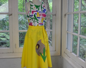 Sunshine Yellow and Big Fish Wrap Skirt/Vintage 1970s/Novelty Retro Appliqué Summer Skirt/Bright Yellow Cotton Skirt/One Size