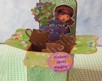 Tea Time Marci Box Card 3D Relax and Enjoy OOAK