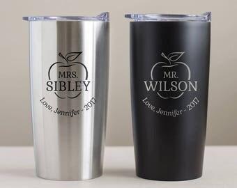 Custom Engraved Teacher Tumbler: Personalized Teacher Mug, Personalized Teacher Gift, Teacher Travel Mug, Teacher Christmas Gift SHIPS FAST