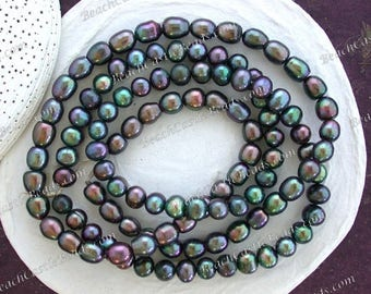 2 Strands Sale Beads, Destash Beads, Blue Green Iris Peacock Fresh Water Pearl Beads, Rice Potato Fresh Water Pearls Destash Supplies DS-908