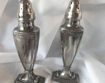 Antique La France Pedestal Salt and Pepper Shakers Silver Plate SP Co