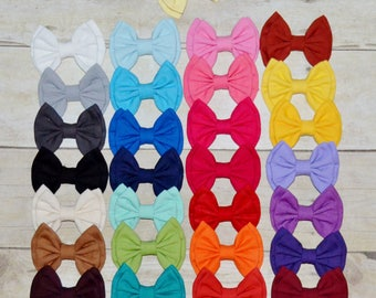 Solid Fabric Hairbows, Back to School Bows, Double Stack Fabric Bows, Girls accessories, Toddler Hair Clip, PIggie Bows