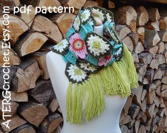 Crochet pattern FLOWER SHAWL by ATERGcrochet