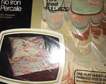 Vintage New Old Stock Double Full Flat abstract Painted sheet New in package