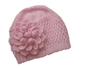 Baby Beanie with Pink Flower, Hand Knit Flower Beanie, Knit Baby Beanie Hat, Pink Baby Flower Hat, Baby Girl Crochet Hat, Baby Girl Hat
