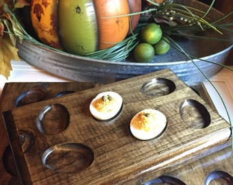 Half dozen wooden egg tray, deviled egg tray, wooden tray, serve tray,