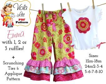 Emma,  Girl's Ruffle Pants Pattern, Girls pdf Sewing Pattern. 1, 2 or 3 Ruffles. INSTANT DOWNLOAD, Toddler Sewing Patterns, Pant Patterns