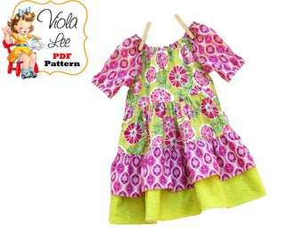 Girls Dresses, Toddler Dresses, Girls Peasant Dress Pattern. Girls Easy Sewing Pattern, Beginner pdf Sewing Patterns, Baby Pattern. Leatha