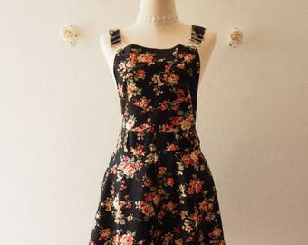 Mid Year SALE Floral Skirtall Overall Skirt Black Floral Dress Floral Overall (US6-US10)