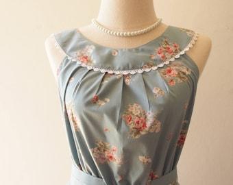 Tea Party - Blue Floral Dress Tea Party Dress Vintage Inspired Dress Floral Bridesmaid Dress