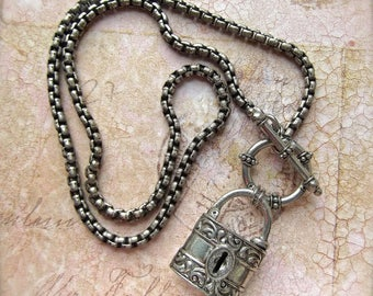 Silver PadLock, Padlock Toggle, Unisex Necklace, Snake Chain Lock, BSue by 1928, Substantial Padlock, Antiqued Finish SP, SP Padlock, Lock