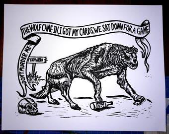Dire Wolf- Grateful Dead Linocut