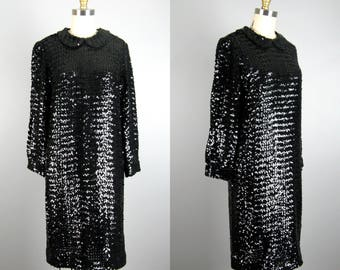Vintage 1960s Black Sequin Dress 60s Sheer Fully Sequinned Cocktail Dress by Gale Mitchell Size M
