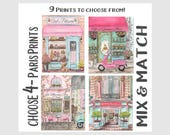 Choose 4 Paris Watercolor Painting Prints By Debbie Cerone, Girls Pink Bedroom Decor, Baby Nursery Gift, Paris Theme Party Backdrop Artwork
