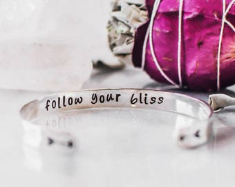 Follow your bliss. Sterling silver cuff bracelet with arrows. Inspirational bracelet. Graduation gift. Gift for her. Yoga bracelet.