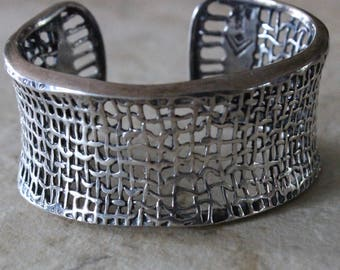 Beautiful Vintage Silpada Wide Mesh Sterling Silver Cuff Bracelet