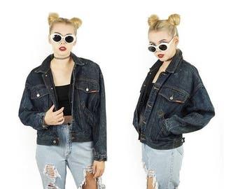 ON SALE Jordache 80s Denim Jacket, Dark Stone Wash, Grunge Punk, Vintage Jean Jacket, Women's Size Large