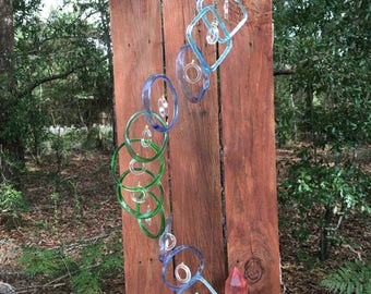 bombay, lt, blue, green, GLASS WINDCHIMES, RECYCLED bottles, eco friendly, garden decor, wind chimes, mobiles, windchimes, soothing music
