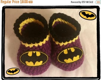 On Sale Batgirl Baby Booties Batgirl Baby Shower Gift Newborn or 3 to 6 months Handmade Crochet Made to Order