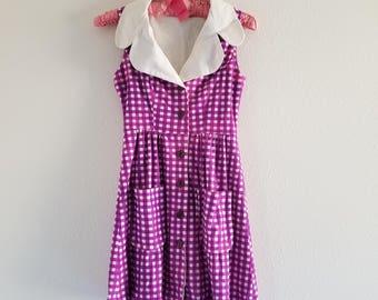 Vintage 1970's Purple Checked Mini Dress