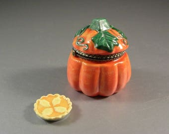 Porcelain Pumpkin Trinket Collectible Stash Jewelry Box