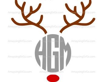 SVG - Reindeer Round Monogram - Christmas SVG - Christmas Shirt svg - Christmas decal svg - Christmas monogram svg - Reindeer antlers svg