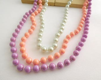 Layered Set Of Retro Vintage Pink Purple Silver Faux Pearl Bead Necklaces GG41