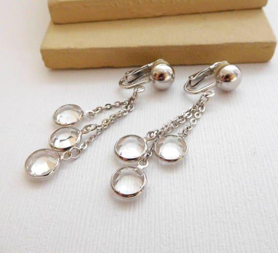 Retro Polished Silver Clear Crystal Charm Chain Fringe Dangle Clip Earrings XX6