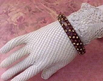 Pretty Vintage Jeweled Bangle Bracelet in Rich Earthtones