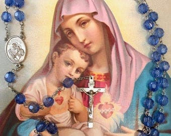 Pretty Rosary with St Joseph Medal