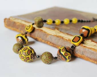Yellow Brown Beaded Necklace Funny Necklace Statement Necklace Polymer Clay Necklace Boho style Yellow jewelry Gift idea for her