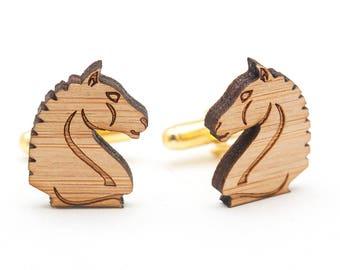 Horse Cufflinks - Wood Cufflinks - Knight Chess Cufflinks - 5th Anniversary Gift for Men - Animal Cufflinks - Chess Piece - Cowboy Cufflinks