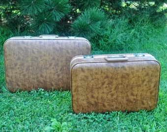 Faux leather luggage | Etsy