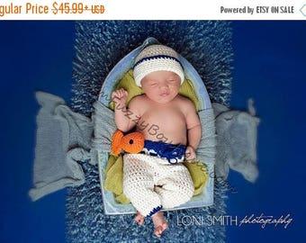 SUMMER SALE Baby Sailor Hat & Pants Set - Crochet Newborn Beanie Boy Girl Costume Winter  Photo Prop Cap Christmas Outfit