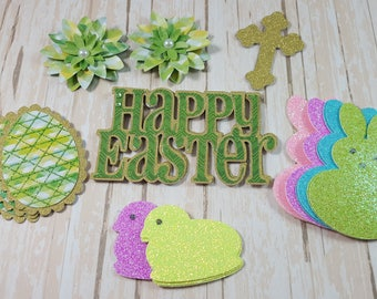 Easter Scrapbook Die cuts, Cross, Peeps, Easter Eggs, Flower Embellishments, Easter Card Topper