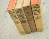 Set of Four, Old Ruth Fielding Books, Home Decor, Wedding Decor, Vintage Books, Yellow, Tan, 1910's, Women's Books