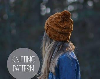 FLASH SALE knitting pattern triangle pom hat toque pattern - the vertigo beanie