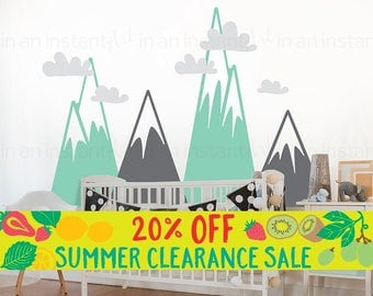 Summer SALE Mountain Wall Decal | Woodland Mountain Nursery Decor | Triangle Mountains for Kids Rooms | Vinyl Wall Decal | Easy Application