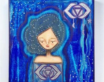 Third Eye Chakra Girl Art Work. Mixed media artwork. Original Art for Sale, Original Art Work, Fine Art, Original Painting, Gift Women