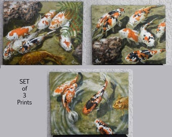 Koi Meditation Series  SET of 3 Giclee Prints by GMLuttrell 8x10 All 3 in Koi Meditation Series by USA Artist
