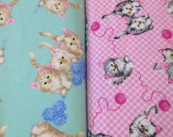 Kitten cat Flannel fabric, top quality, sewing material, quilting, kitten flannel, aqua blue or pink kittens playing with yarn, by yard