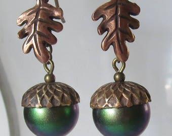 Dark Green Metallic Rainbow Pearl Acorn and Oak Leaf Earrings